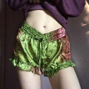 Asian Inspired Silk Multicolor Pajama Shorts